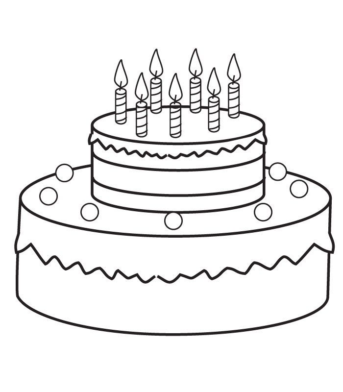 Birthday Cake Pictures To Color : Coloring birthday cake