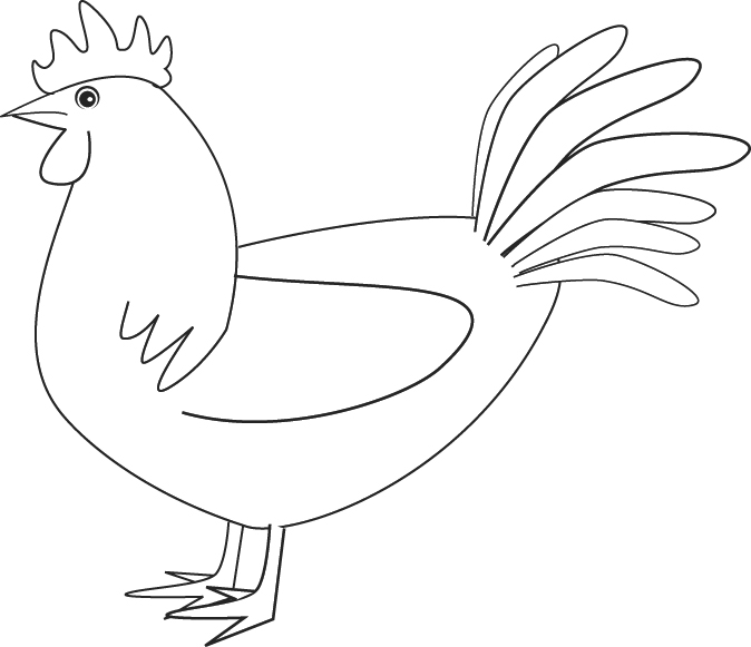 Line Drawing Rooster : Coloring rooster
