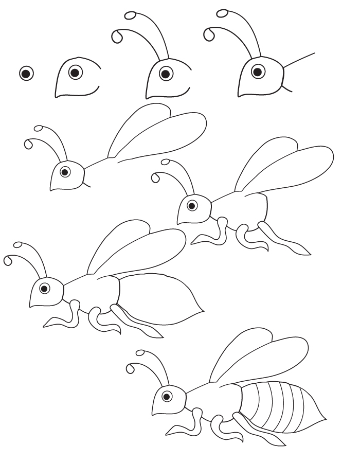 Drawing bee for How to draw nature step by step