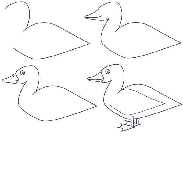 Learn How to Draw a Duck Step by Step
