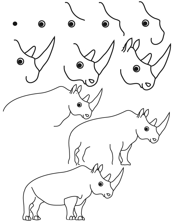 Line Drawing Rhino : Draw easy flowers new calendar template site