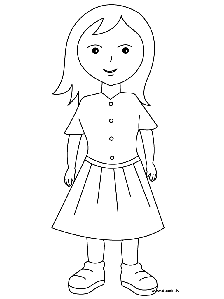 Free coloring pages of a girl
