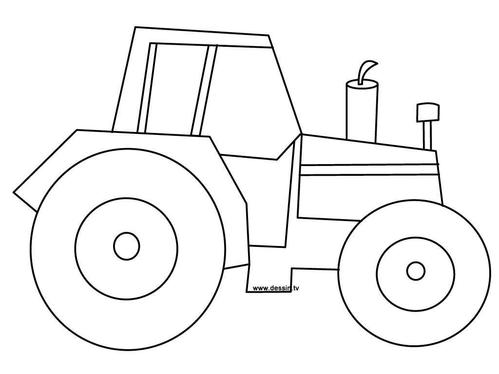 Line Drawing Tractor : Coloring tractor