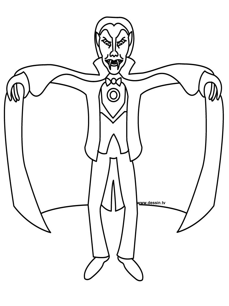 Coloring vampire for Dracula coloring pages