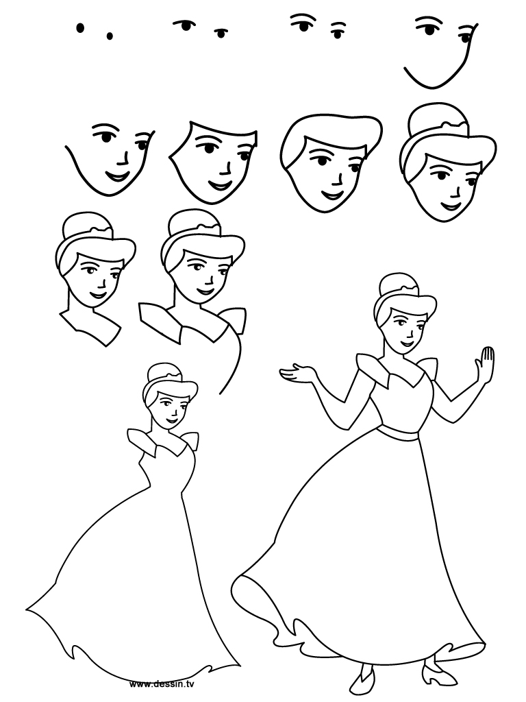 how to draw cinderella easy step by step disney princesses cartoons draw cartoon characters free online drawing tutorial added by dawn