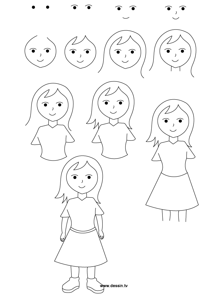Drawing girl for How to draw a little girl easy