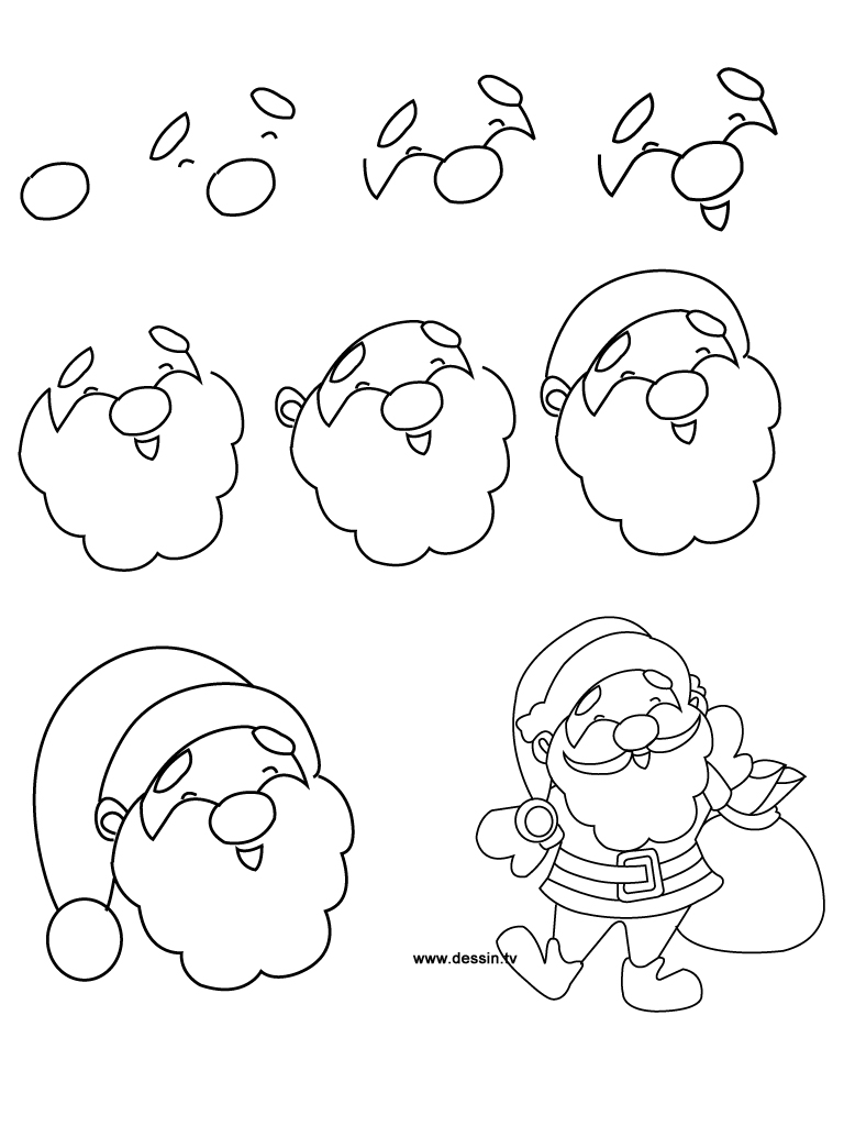 how to draw santa step by spep