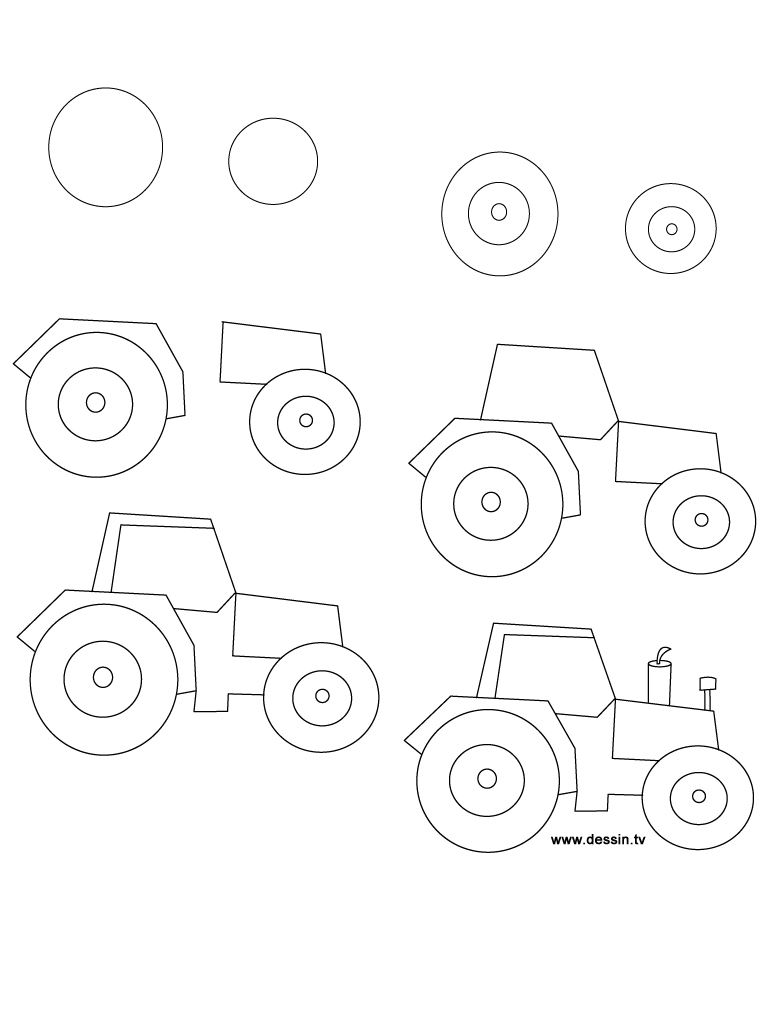 learn how to draw a tractor with simple step by step instructions